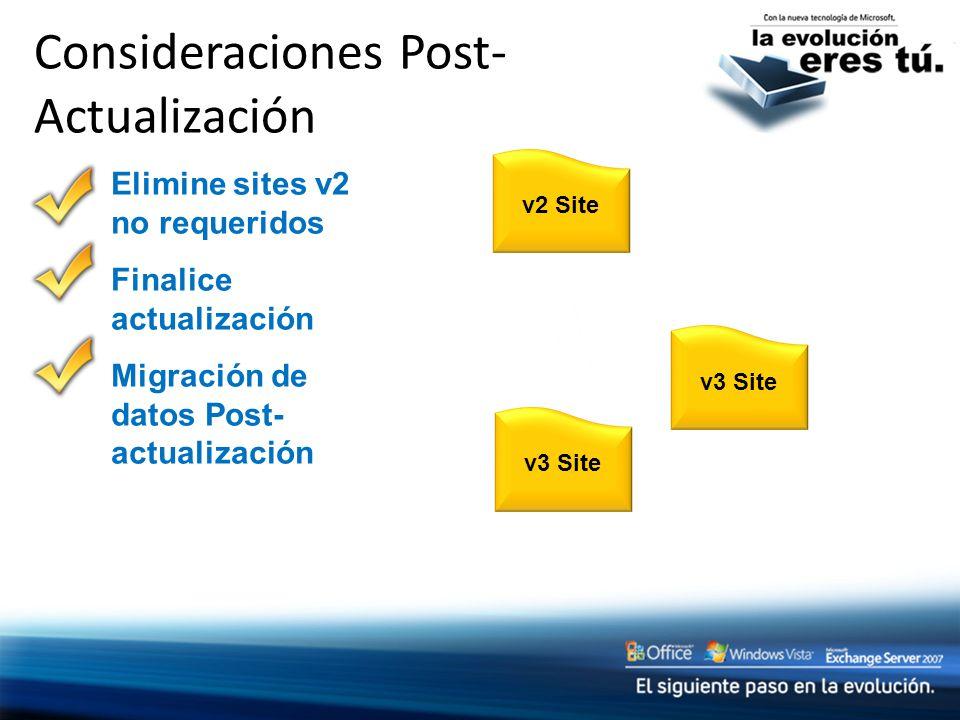 Consideraciones Post- Actualización v2 Sitev3 Site Elimine sites v2 no requeridos Finalice actualización Migración de datos Post- actualización