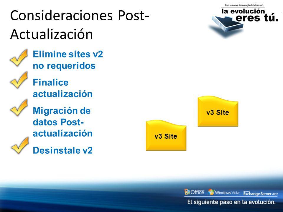 Consideraciones Post- Actualización v3 Site Elimine sites v2 no requeridos Finalice actualización Migración de datos Post- actualízación Desinstale v2