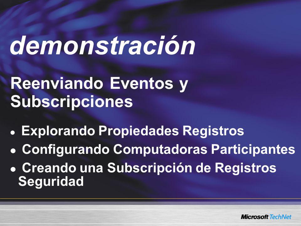 Demo Reenviando Eventos y Subscripciones Explorando Propiedades Registros Configurando Computadoras Participantes Creando una Subscripción de Registros Seguridad demonstración