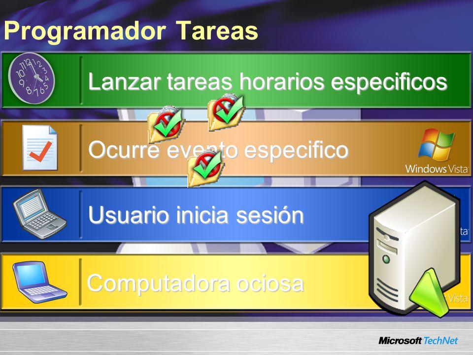 Programador Tareas Lanzar tareas horarios especificos Ocurre evento especifico Usuario inicia sesión Computadora ociosa