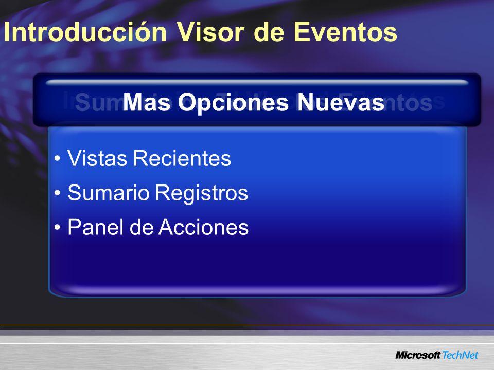 Introducción al Visor de Eventos Consulta a través múltiples registros de eventos Guardar consultas como vistas Programar tareas en respuesta a evento