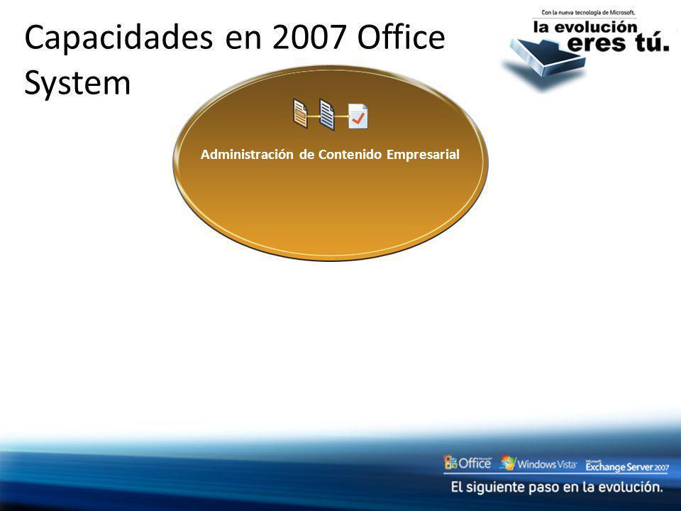 Capacidades en 2007 Office System Administración de Contenido Empresarial