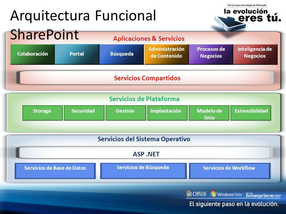 Servicios del Sistema Operativo ASP.NET Servicios de Base de Datos Servicios de Búsqueda Servicios de Workflow Aplicaciones & Servicios Servicios de P