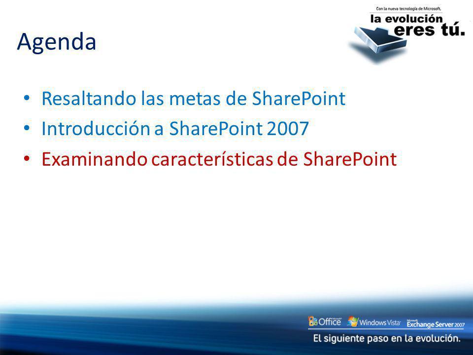 Resaltando las metas de SharePoint Introducción a SharePoint 2007 Examinando características de SharePoint Agenda