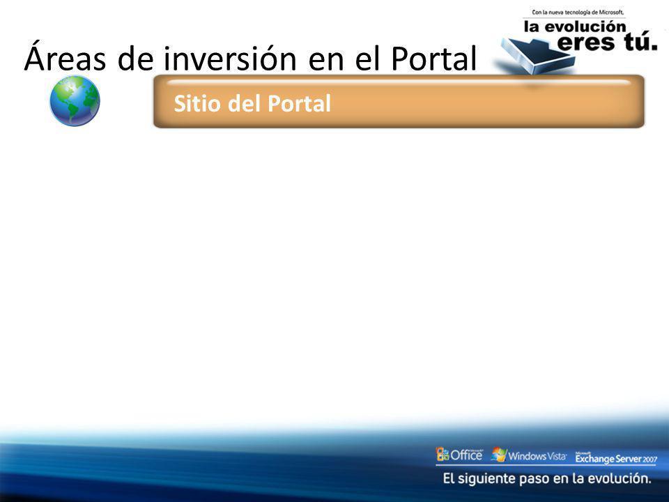 Áreas de inversión en el Portal Sitio del Portal