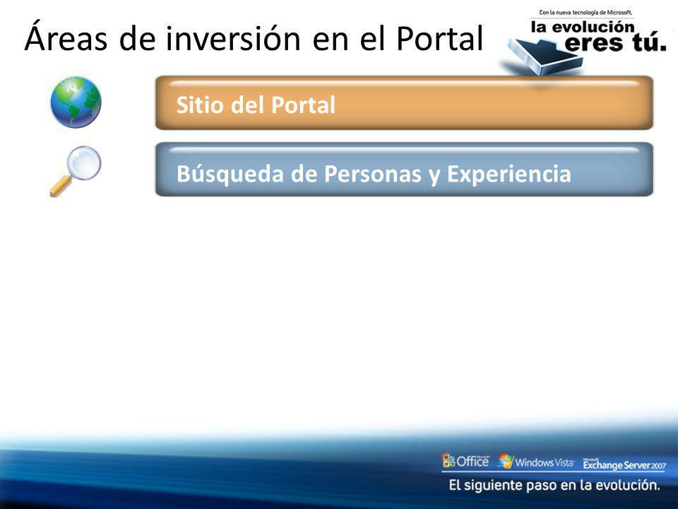 Búsqueda de Personas y Experiencia Áreas de inversión en el Portal Sitio del Portal