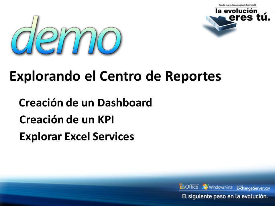 Explorando el Centro de Reportes Creación de un Dashboard Creación de un KPI Explorar Excel Services