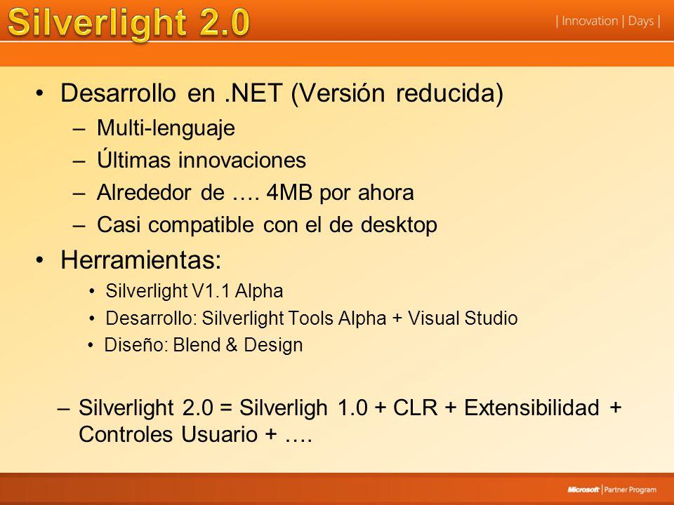 Desarrollo en.NET (Versión reducida) –Multi-lenguaje –Últimas innovaciones –Alrededor de …. 4MB por ahora –Casi compatible con el de desktop Herramien
