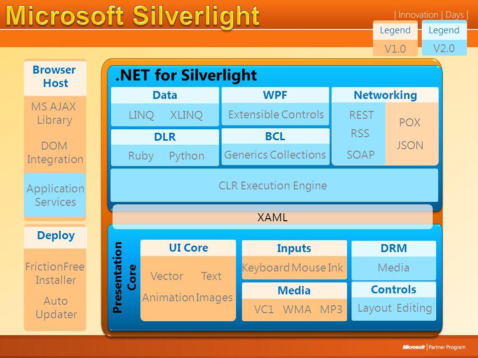 Legend V2.0.NET for Silverlight XAML Presentation Core Networking JSON REST POX RSS Data LINQXLINQ DLR RubyPython WPF Extensible Controls BCL Generics