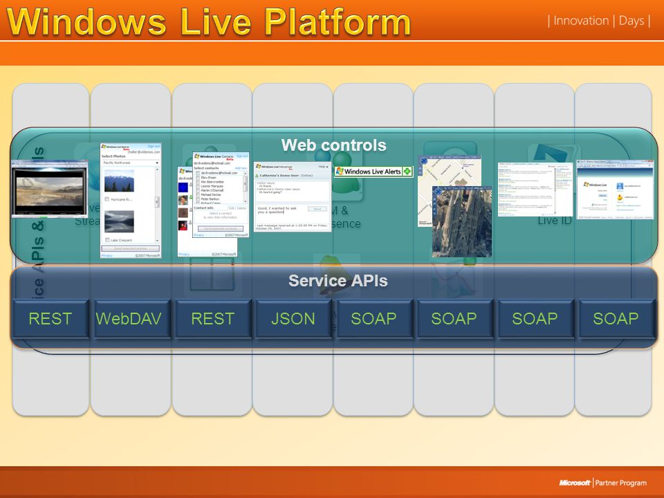 Live Search Service APIs & Controls Silverlight Streaming Spaces Photos Spaces Photos Live Contacts Live Contacts IM & Presence Live Alerts Live Alert