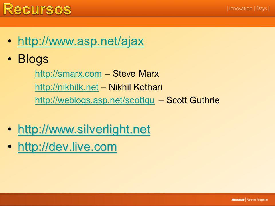 http://www.asp.net/ajax Blogs http://smarx.comhttp://smarx.com – Steve Marx http://nikhilk.nethttp://nikhilk.net – Nikhil Kothari http://weblogs.asp.n