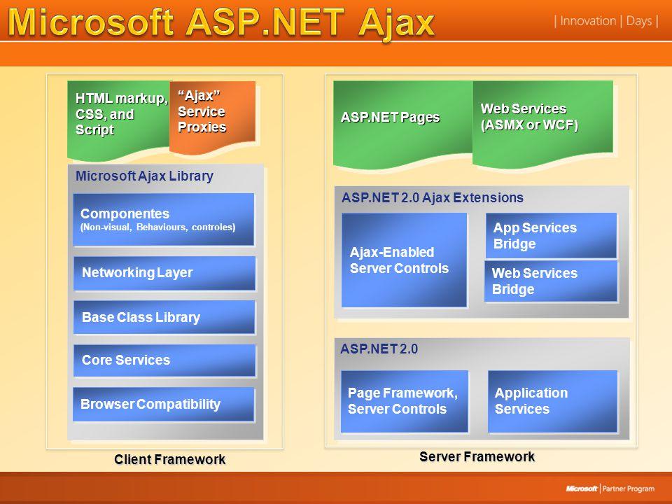 ASP.NET 2.0 Ajax Extensions Ajax-Enabled Server Controls Ajax-Enabled Server Controls App Services Bridge Web Services Bridge Server Framework ASP.NET