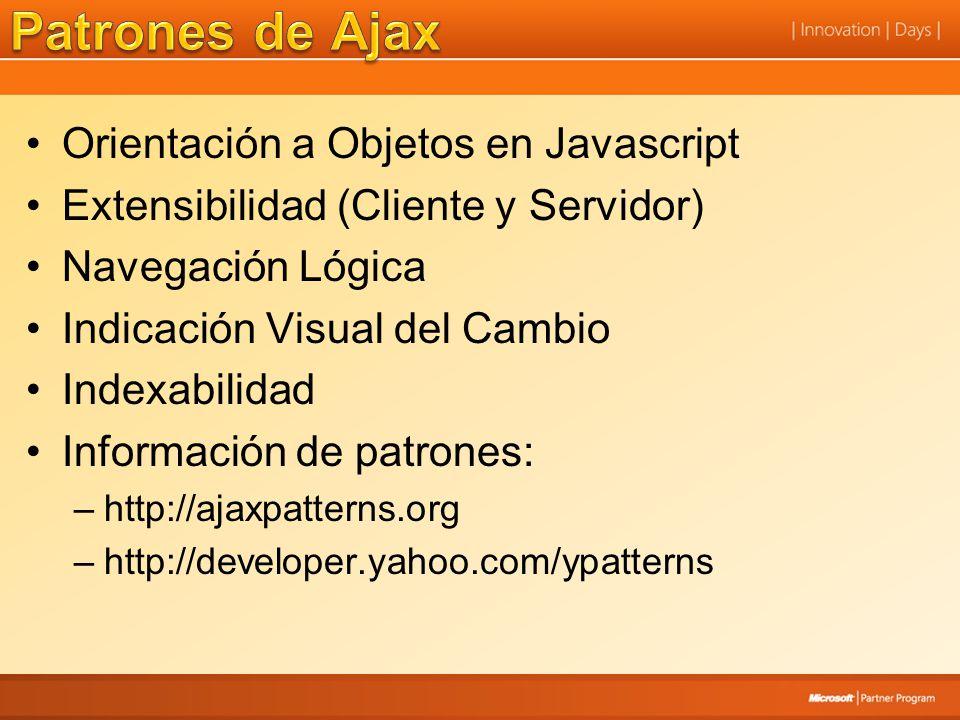 Orientación a Objetos en Javascript Extensibilidad (Cliente y Servidor) Navegación Lógica Indicación Visual del Cambio Indexabilidad Información de pa