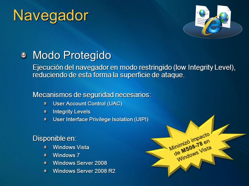 Navegador Modo Protegido Ejecución del navegador en modo restringido (low Integrity Level), reduciendo de esta forma la superficie de ataque. Mecanism