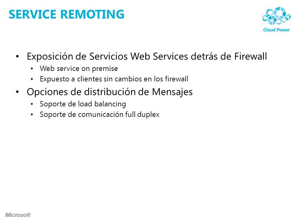 SERVICE REMOTING Exposición de Servicios Web Services detrás de Firewall Web service on premise Expuesto a clientes sin cambios en los firewall Opciones de distribución de Mensajes Soporte de load balancing Soporte de comunicación full duplex
