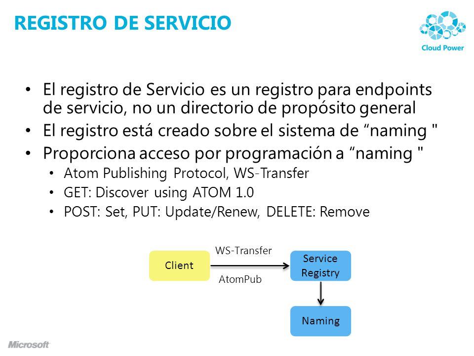 REGISTRO DE SERVICIO El registro de Servicio es un registro para endpoints de servicio, no un directorio de propósito general El registro está creado sobre el sistema de naming Proporciona acceso por programación a naming Atom Publishing Protocol, WS-Transfer GET: Discover using ATOM 1.0 POST: Set, PUT: Update/Renew, DELETE: Remove Naming Service Registry Client AtomPub WS-Transfer