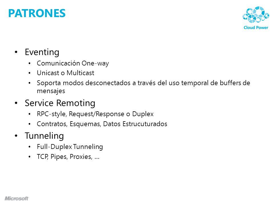 PATRONES Eventing Comunicación One-way Unicast o Multicast Soporta modos desconectados a través del uso temporal de buffers de mensajes Service Remoting RPC-style, Request/Response o Duplex Contratos, Esquemas, Datos Estrucuturados Tunneling Full-Duplex Tunneling TCP, Pipes, Proxies, …