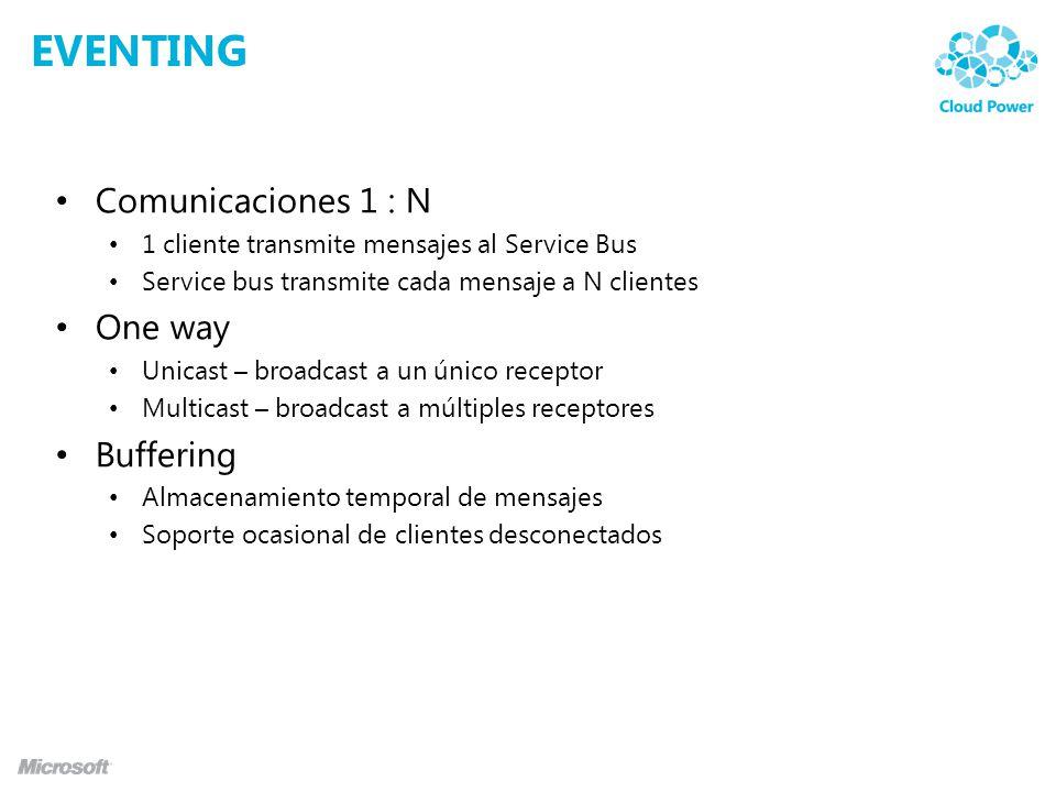 EVENTING Comunicaciones 1 : N 1 cliente transmite mensajes al Service Bus Service bus transmite cada mensaje a N clientes One way Unicast – broadcast a un único receptor Multicast – broadcast a múltiples receptores Buffering Almacenamiento temporal de mensajes Soporte ocasional de clientes desconectados