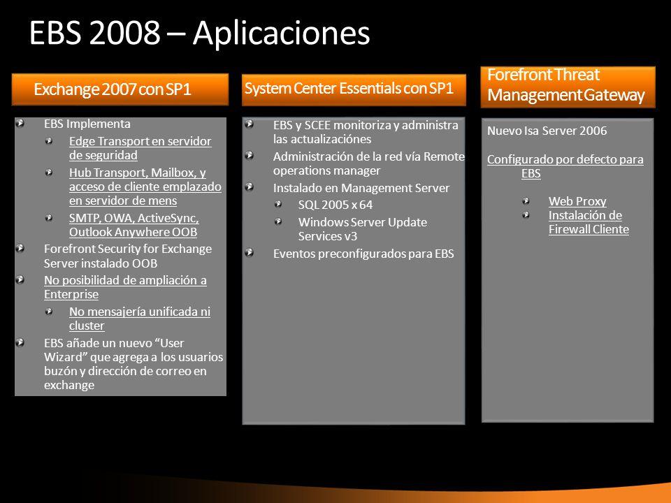 Exchange 2007 con SP1 EBS Implementa Edge Transport en servidor de seguridad Hub Transport, Mailbox, y acceso de cliente emplazado en servidor de mens