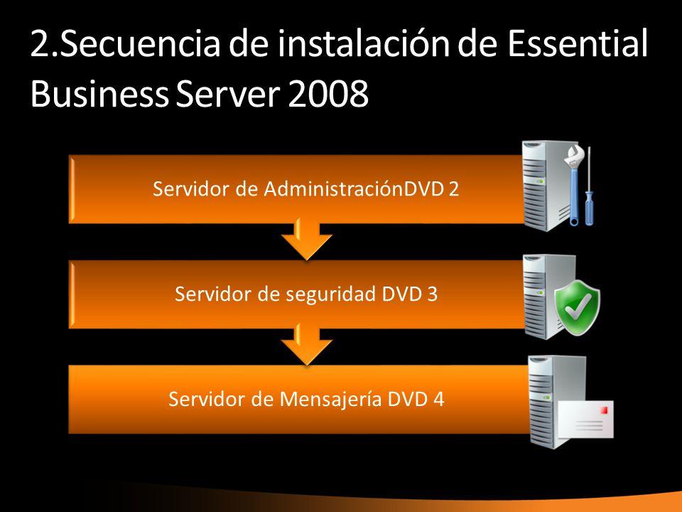 2.Secuencia de instalación de Essential Business Server 2008 Servidor de Mensajería DVD 4 Servidor de seguridad DVD 3 Servidor de AdministraciónDVD 2