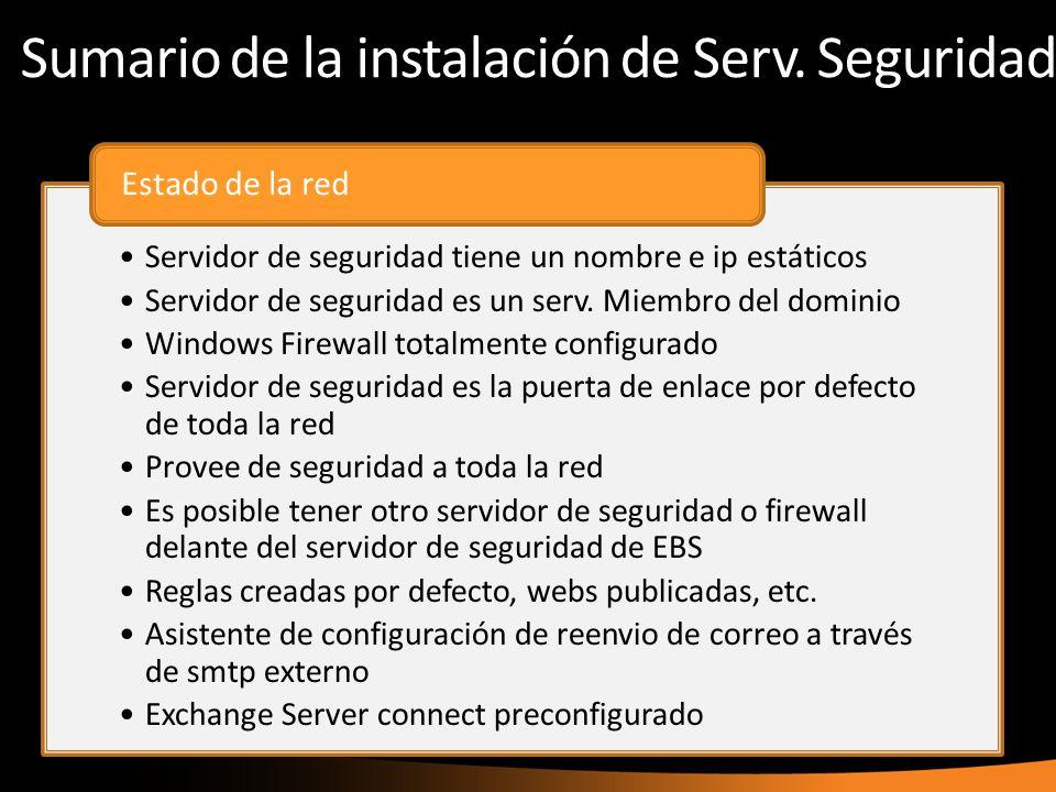 Sumario de la instalación de Serv. Seguridad Servidor de seguridad tiene un nombre e ip estáticos Servidor de seguridad es un serv. Miembro del domini