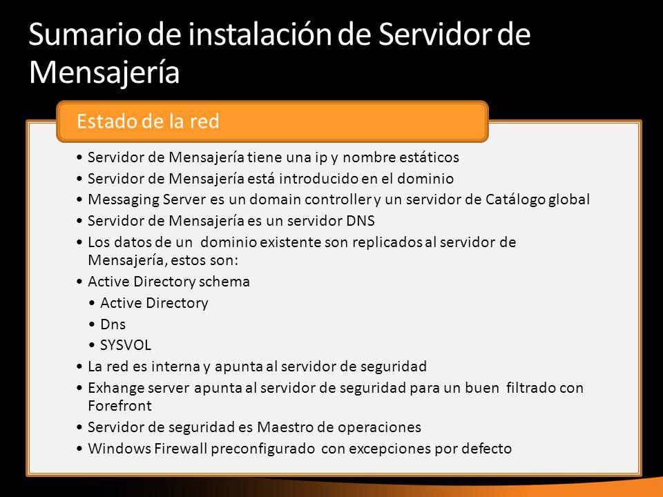 Sumario de instalación de Servidor de Mensajería Servidor de Mensajería tiene una ip y nombre estáticos Servidor de Mensajería está introducido en el
