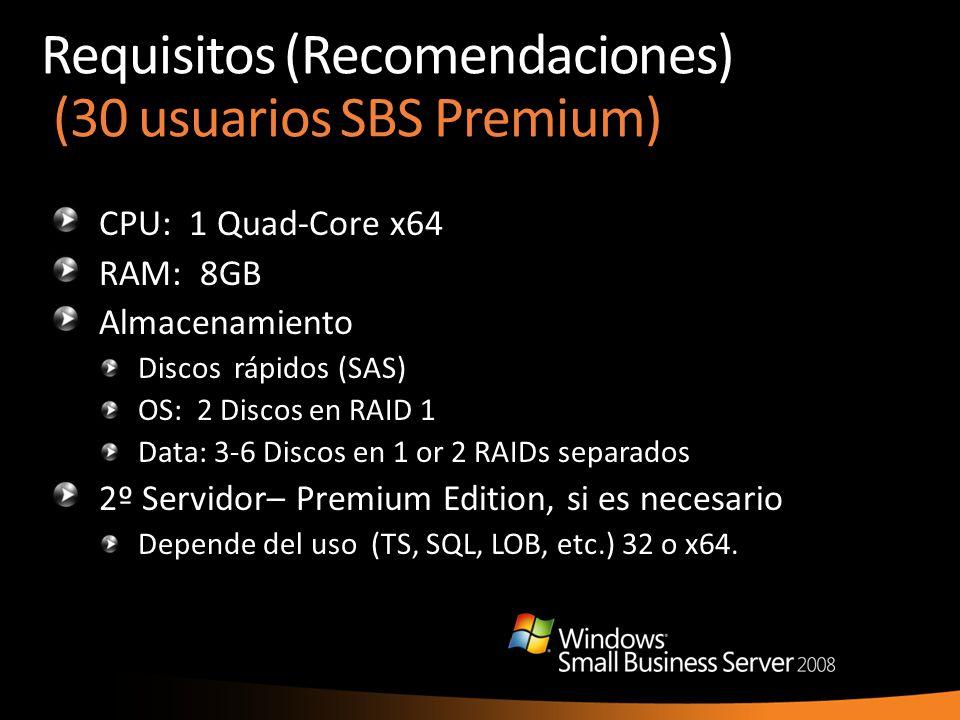 Requisitos (Recomendaciones) (30 usuarios SBS Premium) CPU: 1 Quad-Core x64 RAM: 8GB Almacenamiento Discos rápidos (SAS) OS: 2 Discos en RAID 1 Data: 3-6 Discos en 1 or 2 RAIDs separados 2º Servidor– Premium Edition, si es necesario Depende del uso (TS, SQL, LOB, etc.) 32 o x64.