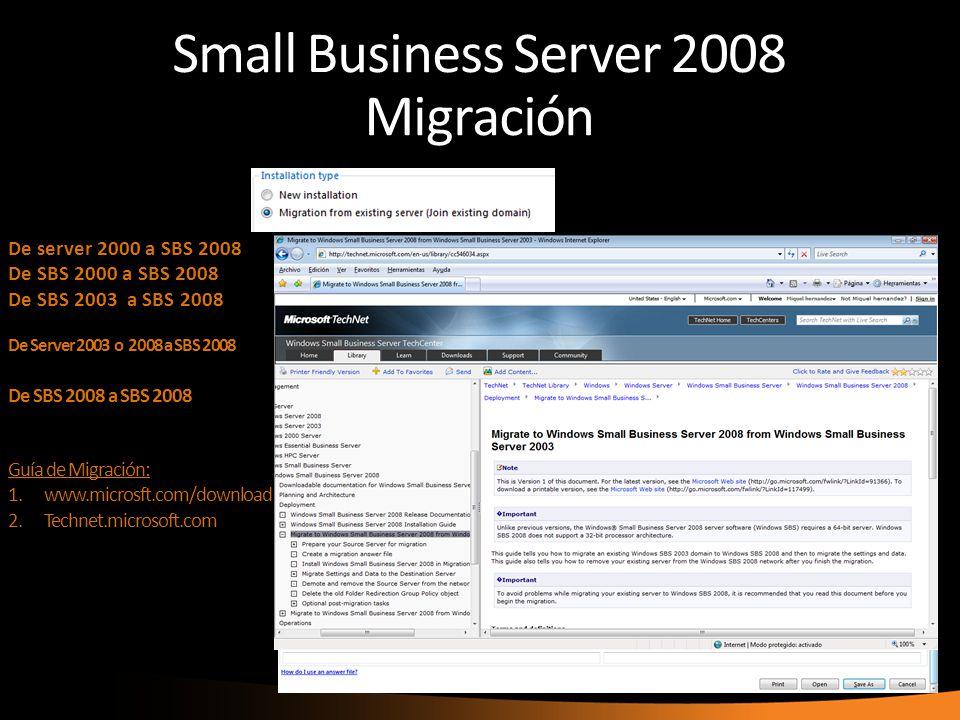 Small Business Server 2008 Migración De server 2000 a SBS 2008 De SBS 2000 a SBS 2008 De SBS 2003 a SBS 2008 De Server 2003 o 2008 a SBS 2008 De SBS 2008 a SBS 2008 Guía de Migración: 1.www.microsft.com/download 2.Technet.microsoft.com