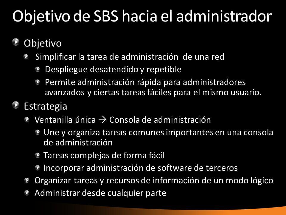 Objetivo de SBS hacia el administrador Objetivo Simplificar la tarea de administración de una red Despliegue desatendido y repetible Permite administración rápida para administradores avanzados y ciertas tareas fáciles para el mismo usuario.