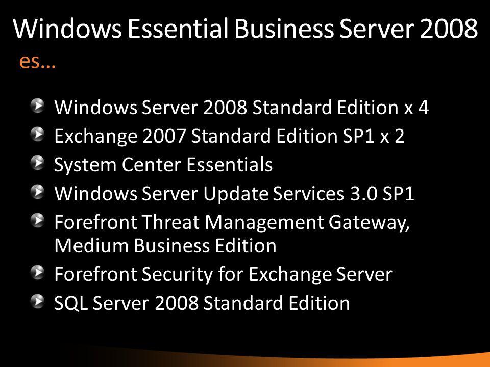 es… Windows Server 2008 Standard Edition x 4 Exchange 2007 Standard Edition SP1 x 2 System Center Essentials Windows Server Update Services 3.0 SP1 Fo