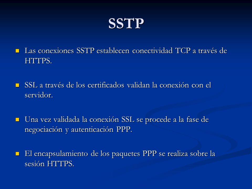 SSTP Las conexiones SSTP establecen conectividad TCP a través de HTTPS. Las conexiones SSTP establecen conectividad TCP a través de HTTPS. SSL a travé