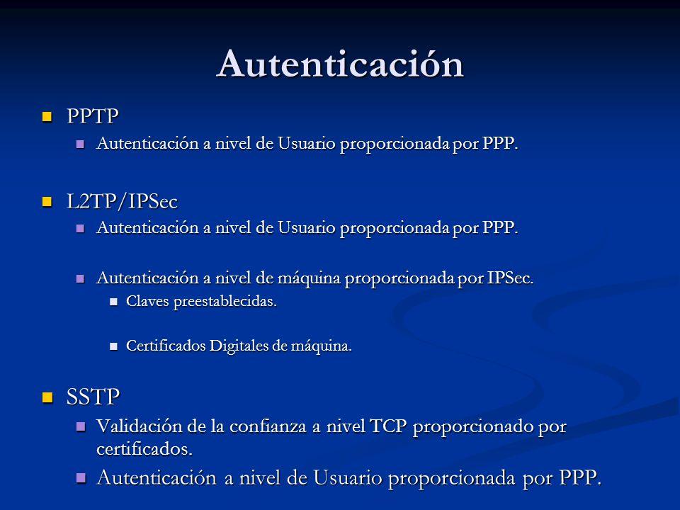 Autenticación PPTP PPTP Autenticación a nivel de Usuario proporcionada por PPP. Autenticación a nivel de Usuario proporcionada por PPP. L2TP/IPSec L2T