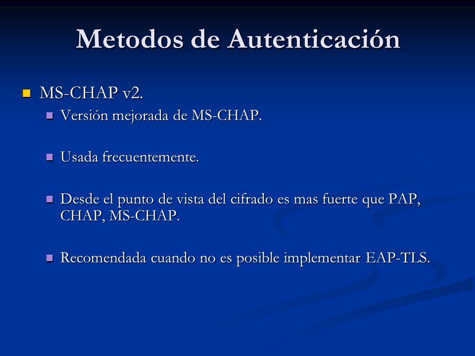 Metodos de Autenticación MS-CHAP v2. MS-CHAP v2. Versión mejorada de MS-CHAP. Versión mejorada de MS-CHAP. Usada frecuentemente. Usada frecuentemente.