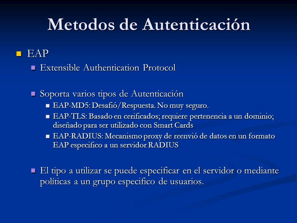 Metodos de Autenticación EAP EAP Extensible Authentication Protocol Extensible Authentication Protocol Soporta varios tipos de Autenticación Soporta v