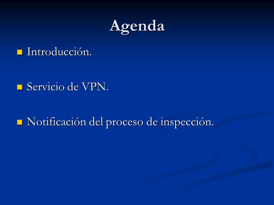 Agenda Introducción. Introducción. Servicio de VPN. Servicio de VPN. Notificación del proceso de inspección. Notificación del proceso de inspección.