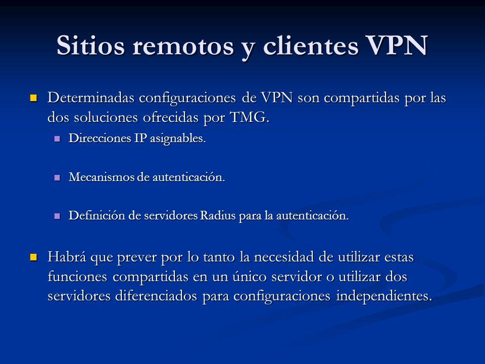 Sitios remotos y clientes VPN Determinadas configuraciones de VPN son compartidas por las dos soluciones ofrecidas por TMG. Determinadas configuracion