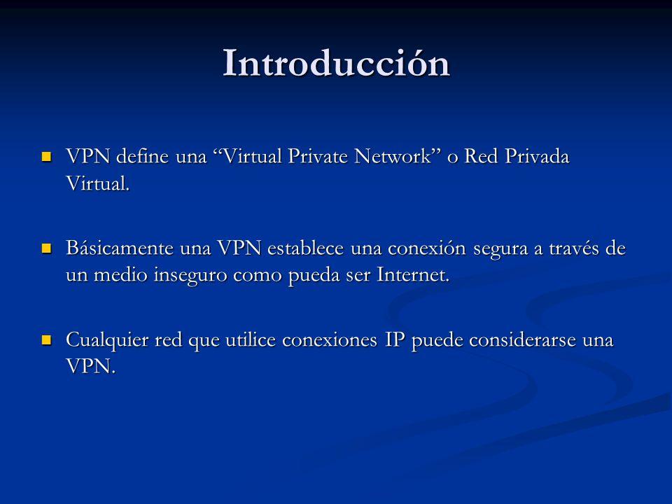 Introducción VPN define una Virtual Private Network o Red Privada Virtual. VPN define una Virtual Private Network o Red Privada Virtual. Básicamente u