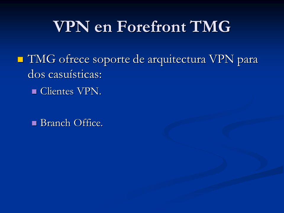 VPN en Forefront TMG TMG ofrece soporte de arquitectura VPN para dos casuísticas: TMG ofrece soporte de arquitectura VPN para dos casuísticas: Cliente