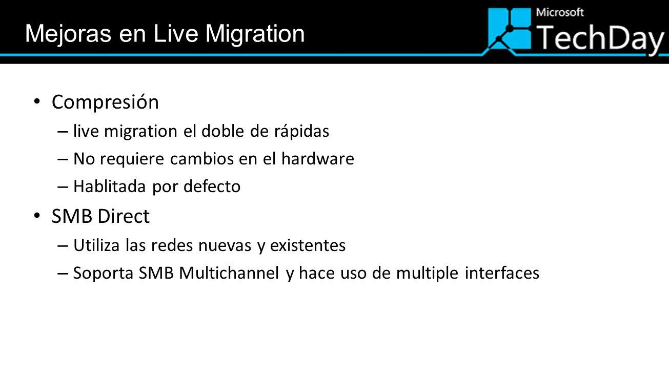 Compresión – live migration el doble de rápidas – No requiere cambios en el hardware – Hablitada por defecto SMB Direct – Utiliza las redes nuevas y e