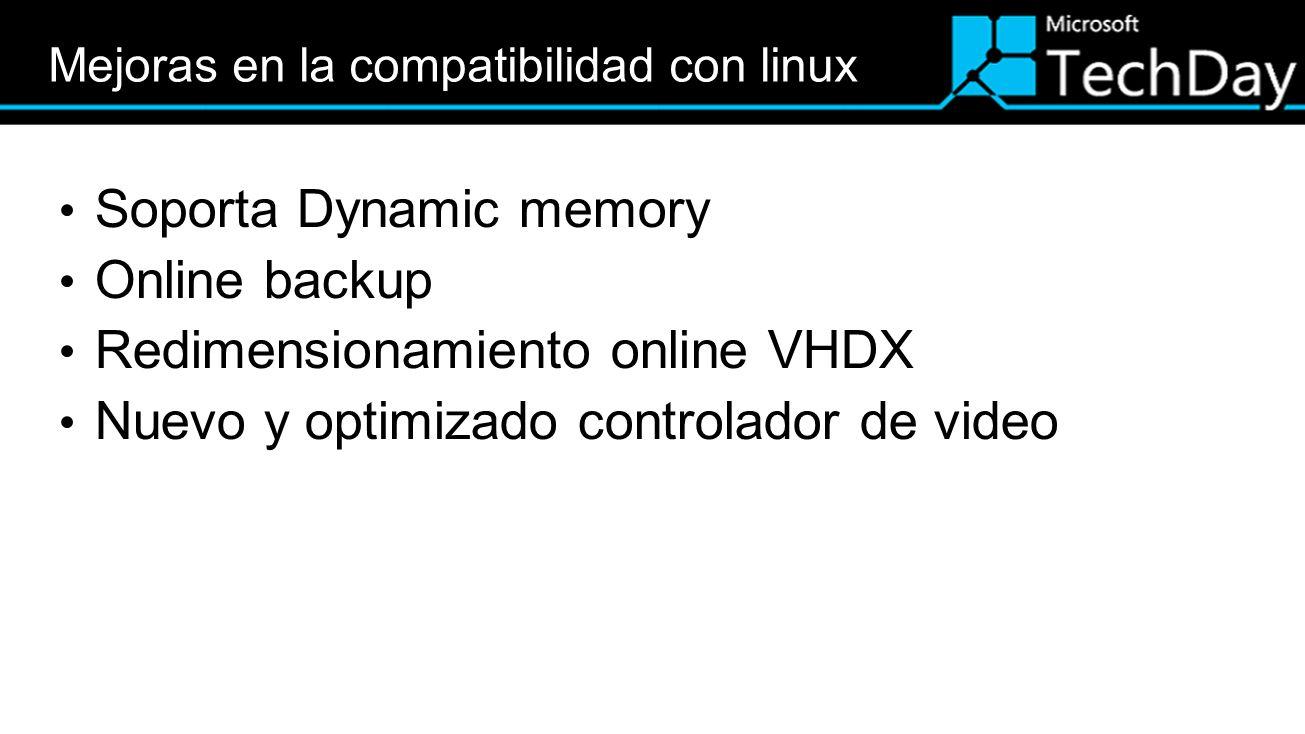 Soporta Dynamic memory Online backup Redimensionamiento online VHDX Nuevo y optimizado controlador de video
