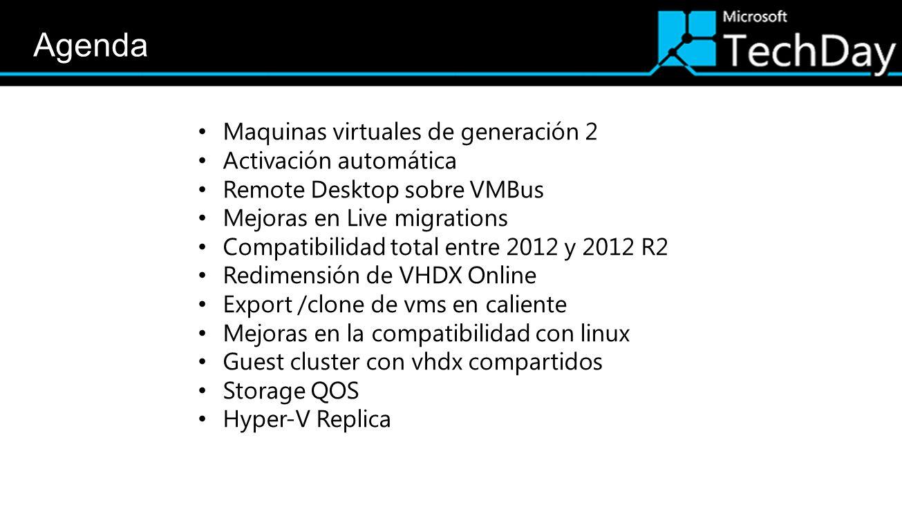 Maquinas virtuales de generación 2 Activación automática Remote Desktop sobre VMBus Mejoras en Live migrations Compatibilidad total entre 2012 y 2012