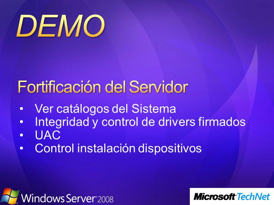 Ver catálogos del Sistema Integridad y control de drivers firmados UAC Control instalación dispositivos