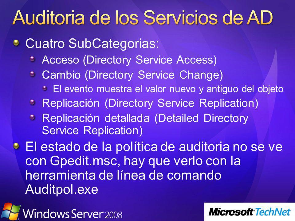 Cuatro SubCategorias: Acceso (Directory Service Access) Cambio (Directory Service Change) El evento muestra el valor nuevo y antiguo del objeto Replic