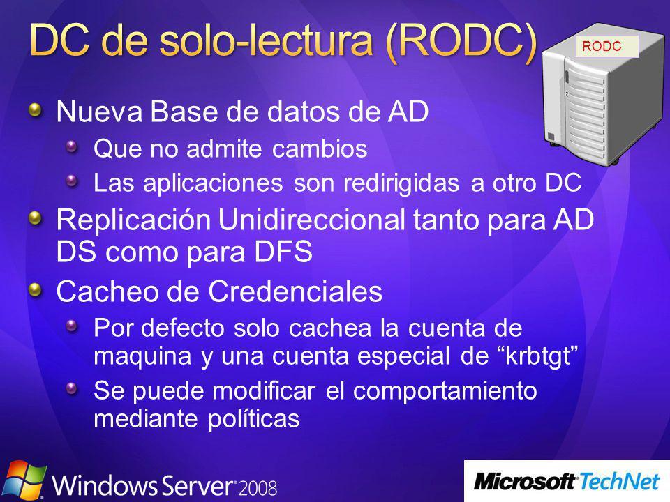 Nueva Base de datos de AD Que no admite cambios Las aplicaciones son redirigidas a otro DC Replicación Unidireccional tanto para AD DS como para DFS C