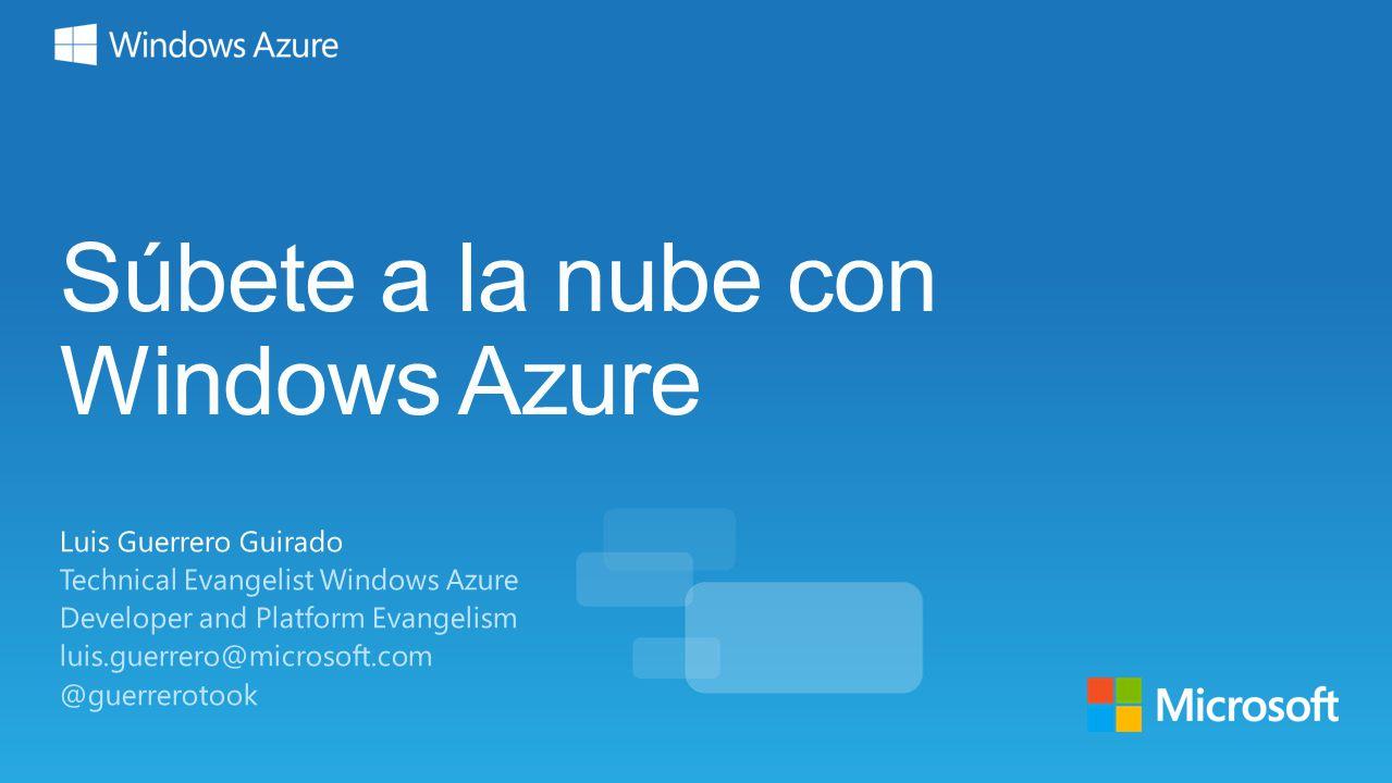Súbete a la nube con Windows Azure Luis Guerrero Guirado Technical Evangelist Windows Azure Developer and Platform Evangelism luis.guerrero@microsoft.