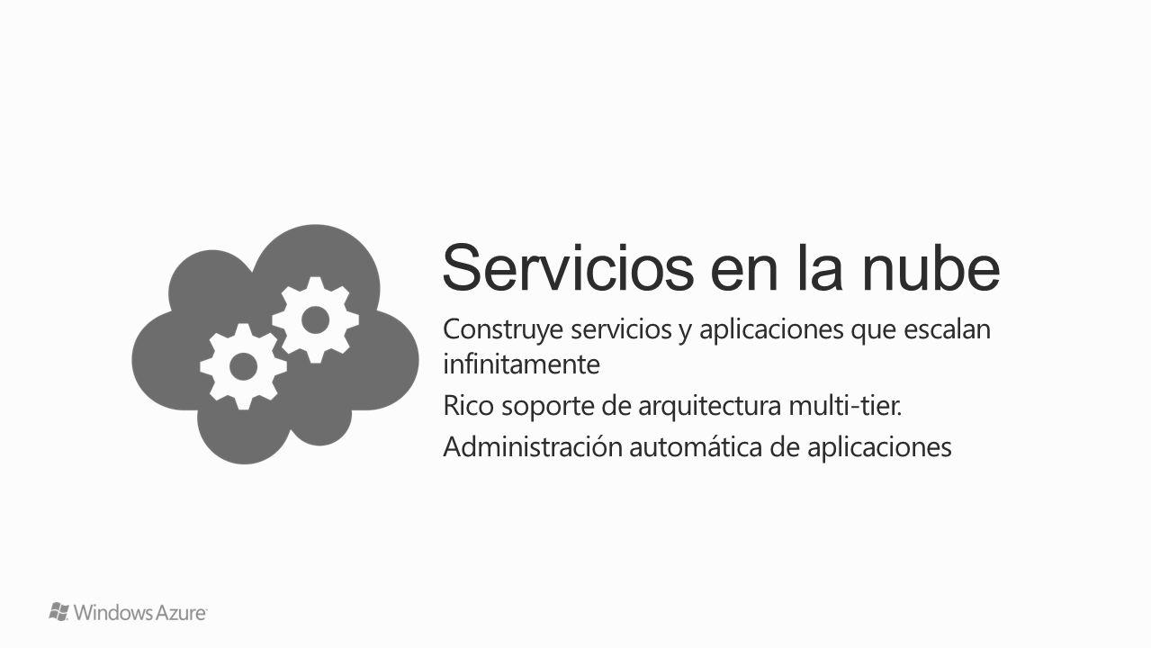 Servicios en la nube Construye servicios y aplicaciones que escalan infinitamente Rico soporte de arquitectura multi-tier. Administración automática d