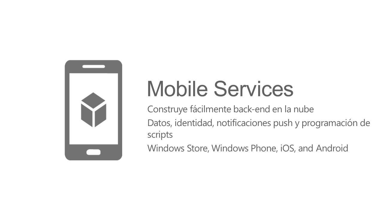 Mobile Services Construye fácilmente back-end en la nube Datos, identidad, notificaciones push y programación de scripts Windows Store, Windows Phone,