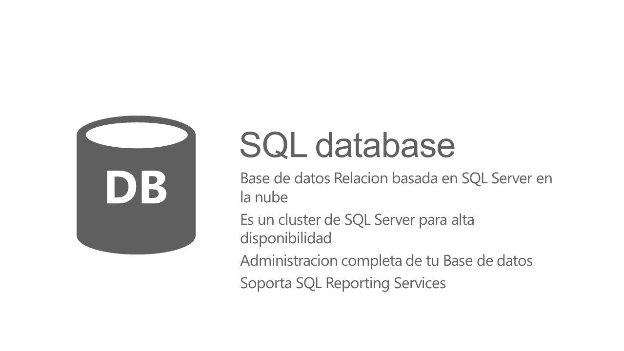SQL database Base de datos Relacion basada en SQL Server en la nube Es un cluster de SQL Server para alta disponibilidad Administracion completa de tu