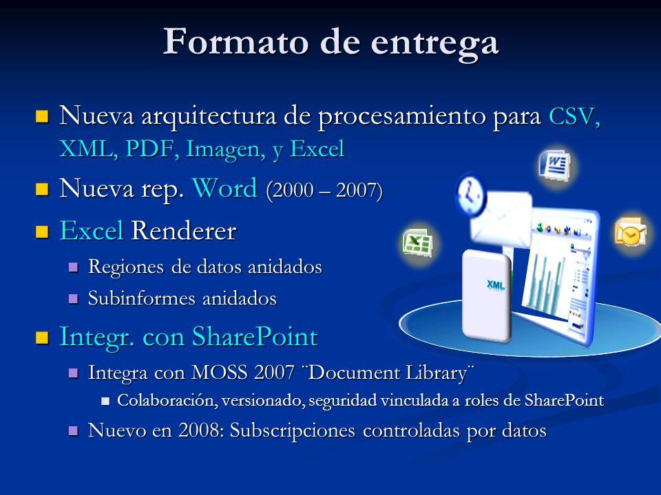 Formato de entrega Nueva arquitectura de procesamiento para CSV, XML, PDF, Imagen, y Excel Nueva arquitectura de procesamiento para CSV, XML, PDF, Imagen, y Excel Nueva rep.