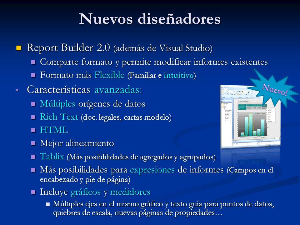 Report Builder 2.0 (además de Visual Studio) Report Builder 2.0 (además de Visual Studio) Comparte formato y permite modificar informes existentes Comparte formato y permite modificar informes existentes Formato más Flexible (Familiar e intuitivo) Formato más Flexible (Familiar e intuitivo) Características avanzadas: Características avanzadas: Múltiples orígenes de datos Múltiples orígenes de datos Rich Text (doc.